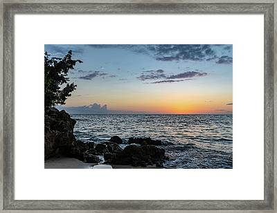 Sunset Afterglow In Negril Jamaica Framed Print