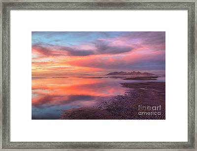 Framed Print featuring the photograph Sunset And Antelope Island by Spencer Baugh