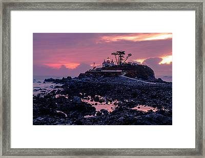 Sunset And Low Tide At Battery Point Framed Print