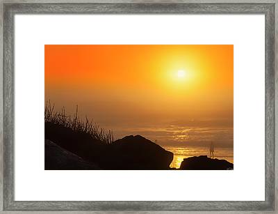 Sunset At Beverly Beach On The Oregon Coast Framed Print