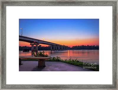 Sunset At The River Park Framed Print