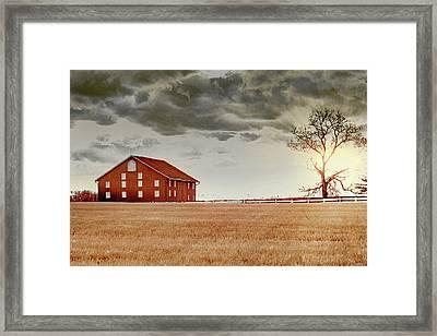 Sunset Barn Framed Print