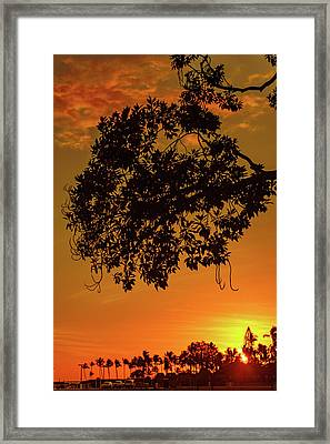 Sunset By The Pier Framed Print