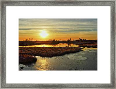 Sunset In Pitt Meadows Framed Print