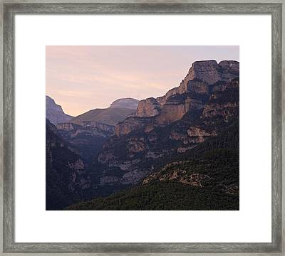 Framed Print featuring the photograph Sunset In The Anisclo Valley by Stephen Taylor