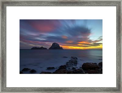 Sunset In The Mediterranean Sea With The Island Of Es Vedra Framed Print