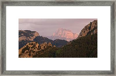 Framed Print featuring the photograph Sunset On Pena Montanesa by Stephen Taylor