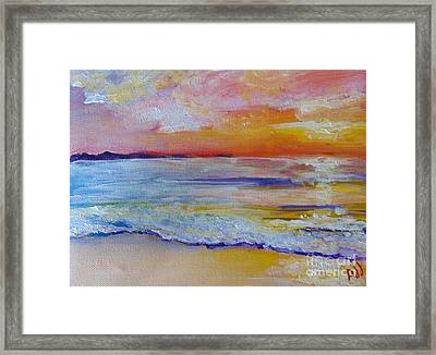 Framed Print featuring the painting Sunset On The Gulf by Saundra Johnson