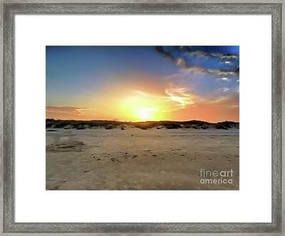 Sunset Over N Padre Island Beach Framed Print