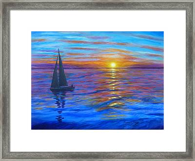 Framed Print featuring the painting Sunset Sail by Amelie Simmons