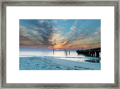 Sunset Seascape And Beautiful Clouds Framed Print