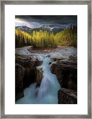 Framed Print featuring the photograph Sunwapta Falls / Alberta, Canada by Nicholas Parker