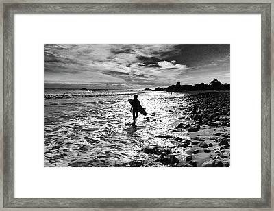 Framed Print featuring the photograph Surfer Silhouette by John Rodrigues