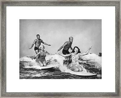 Surfers In California 1965 Framed Print
