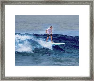 Surfing Andy Framed Print