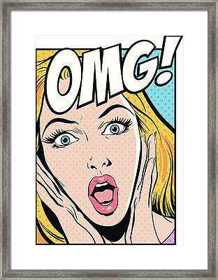 Surprised Woman, With Omg Text Framed Print