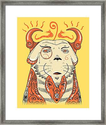 Framed Print featuring the drawing Surreal Cat by Sotuland Art