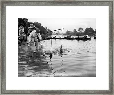 Swimming Lesson Framed Print by Topical Press Agency