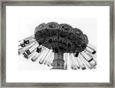 Swinging At Seaside Heights Monochrome Framed Print