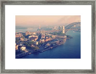 Sydney Harbour And Bridge Framed Print by Stuart Ashley