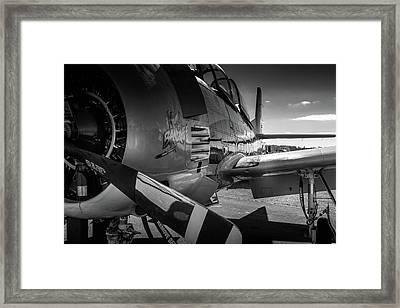 T-28b Trojan In Bw Framed Print