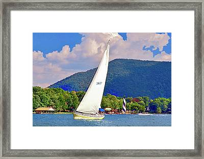 Tacking Lighthouse Sailor, Smith Mountain Lake Framed Print