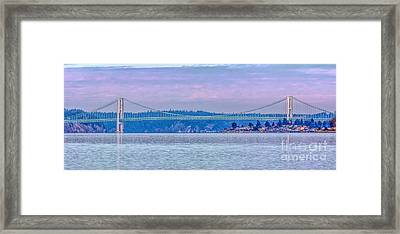 Tacoma Narrows Bridge Landscape Framed Print by Jean OKeeffe Macro Abundance Art