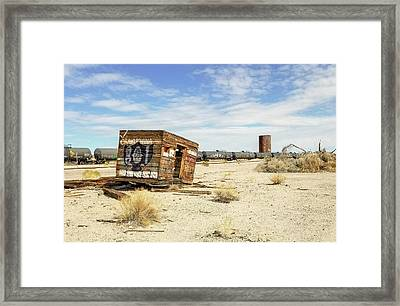 Tank Cars On Siding Of Arizona And California Railroad In California Desert Framed Print