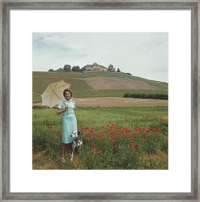 Tatiana On The Rhine Framed Print by Slim Aarons