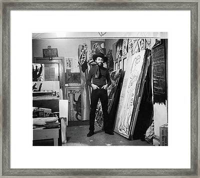 Ted Joans In His Loft Framed Print by Fred W. McDarrah