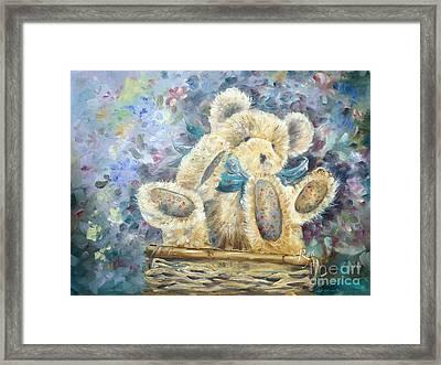 Teddy Bear In Basket Framed Print