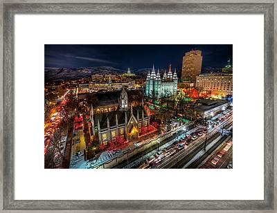 Temple Square Lights Framed Print
