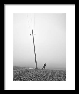 Telephone Poles Framed Prints