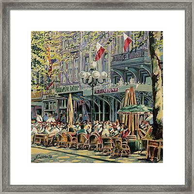Terrace At The Vrijthof In Maastricht Framed Print