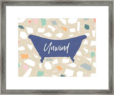 Framed Print featuring the mixed media Terrazzo Unwind Bathtub- Art By Linda Woods by Linda Woods