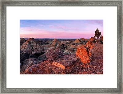 Terry Badlands Sunrise Framed Print by Leland D Howard