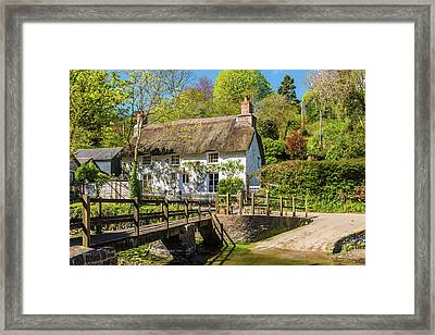 Thatched Cottage In Helford, Cornwall Framed Print by David Ross