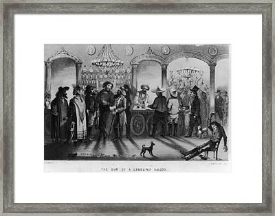 The Bar Of A Gambling Saloon Framed Print by Fotosearch