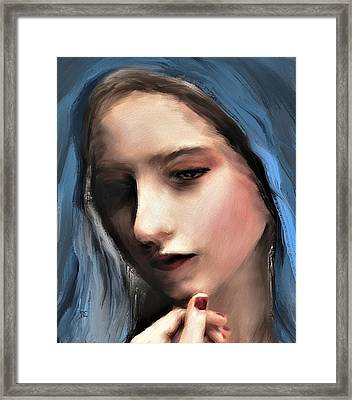 The Blue Scarf Framed Print