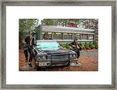 Framed Print featuring the photograph The Blues Brothers At A Diner by Kristia Adams