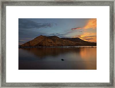 The Closed Cove In Aguilas At Sunset, Murcia Framed Print