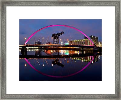 Framed Print featuring the photograph The Clyde Arc Reflected by Stephen Taylor