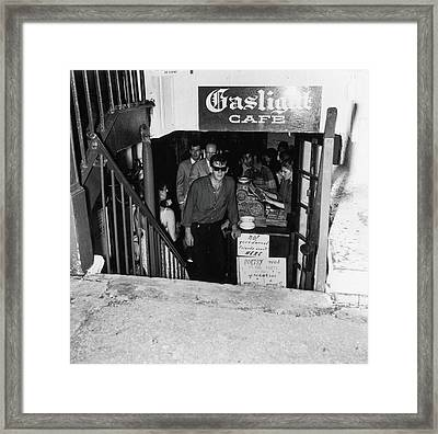 The Entrance To The Gaslight Cafe Framed Print by Fred W. McDarrah