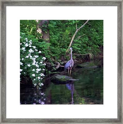 The Great Blue Heron - Impressionism Framed Print