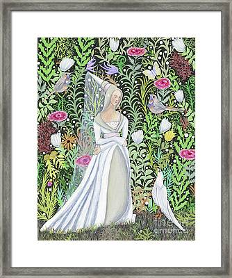 The Lady Vanity Takes A Break From Mirroring To Dream Of An Unusual Garden  Framed Print