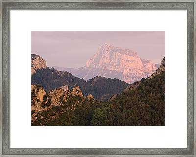 Framed Print featuring the photograph The Last Of The Light At Pena Montanesa by Stephen Taylor