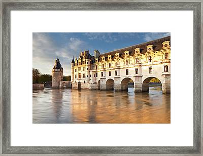 The River Cher And Chateau Chenonceau Framed Print