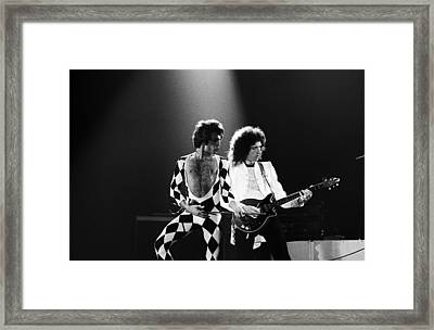 The Rock Group Queen In Concert Framed Print by George Rose