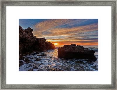 The Sea In Oropesa At Sunrise On The Orange Blossom Coast Framed Print