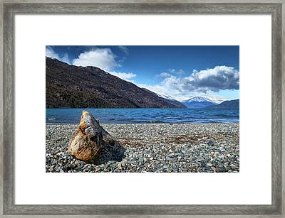 The Trunk, The Lake And The Mountainous Landscape Framed Print